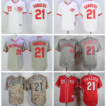 Throwback 21 Deion Sanders Jersey Flexbase Cincinnati Reds Cooperstown Baseball Jerseys Cool Base White Grey Pullover Stitching Top Quality