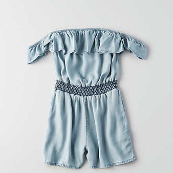 AEO Ruffled Off-The-Shoulder Romper, Blue
