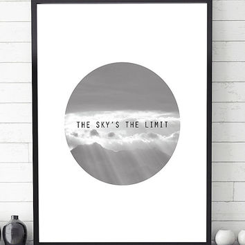 The sky's the limit, minimalist poster, printable art, scandinavian print, minimalist art print, modern wall art, black and white print