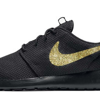 Nike Roshe One + Hand Customized Gold Glitter Swoosh - Black/Black