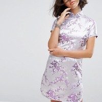 Reclaimed Vintage Inspired Mini Dress In Lilac Brocade With Diamante Trim at asos.com