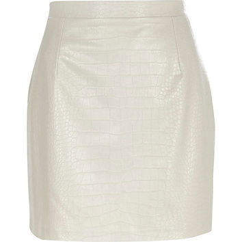 River Island Womens Grey mock croc leather-look mini skirt