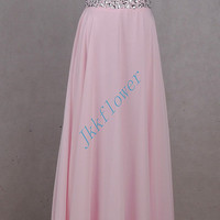 Long Pink Beaded Crystal Prom Dresses,Unique Spaghetti Straps Evening Dresses,Pink Bridesmaid Dresses,Homecoming Dressses,Party Dresses