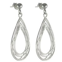 High Fashion Italian Stunning Sterling Silver with Rhodium Overlay Teardrop Frame Cut Out Line Design Earrings!