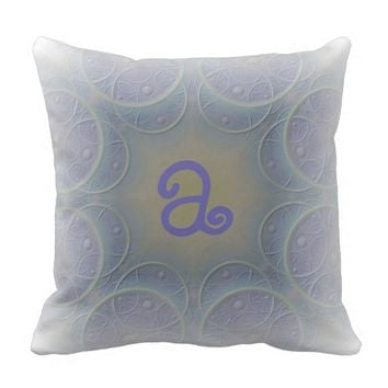 Pale Lavender Designed Monogram Throw Pillow