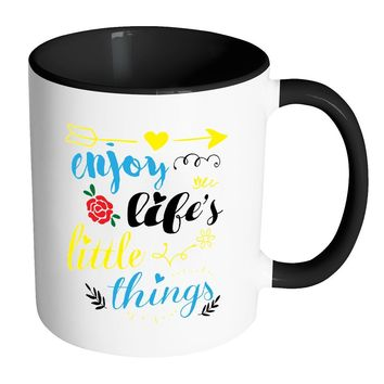 Enjoy Lifes Little Things White 11oz Accent Coffee Mugs