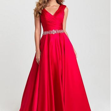 [109.99] Amazing Satin V-neck Neckline Full-length A-line Prom Dresses With Beadings - dressilyme.com
