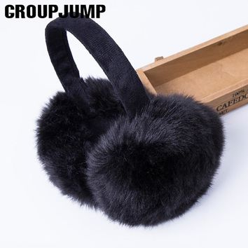 Fashion Rabbit Fur Earmuffs For Women Brand Winter Earmuffs Warm Fur Ear Warmer Ear Cover For Girls Solid Color Earmuffs