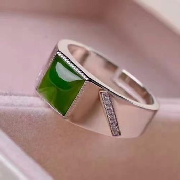 Fashion silver man gemstone ring 8*8mm 2 ct natural green jade ring for man solid 925 Sterling Silver jewelry