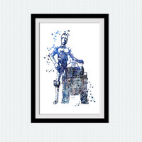 C-3PO watercolor art print Star Wars colorful poster  R2-D2 print Star Wars art print Home decoration Kids room art Wall decor blue W525
