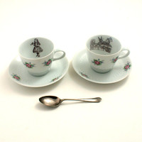 2 Alice in Wonderland Tea Party  Cups Vintage Altered Tea Coffee Flowers Saucers Porcelain White Brown Romantic