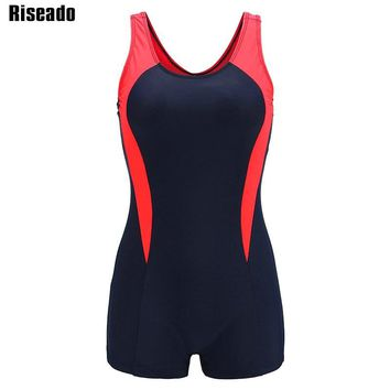 Riseado New 2018 One Piece Swimsuit Female Sport Swimwear Women Splice Backless Boyshorts Summer Bathing Suits