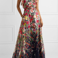 Lela Rose - Ruffled floral-print cotton-voile gown
