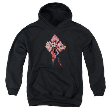 ac NOOW2 Batman - Harley Quinn (Diamonds) Youth Pull Over Hoodie
