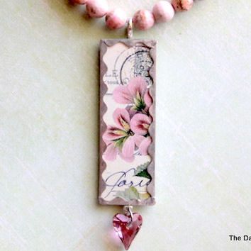 Altered Art Pretty Pink Flowers Micro Slide Necklace