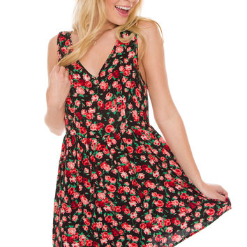 Vera Floral Dress - Black