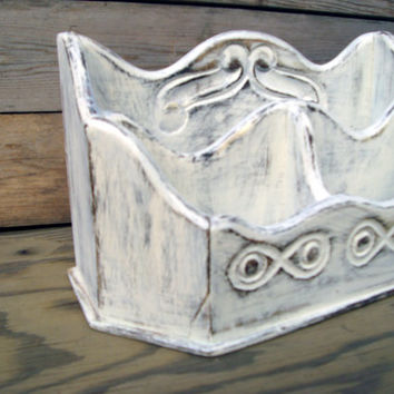 Shabby Chic Antique White Painted Mail Holder, Distressed Off White Desk Organizer, Cottage Chic Home Letter Holder, Repurposed Mango Wood