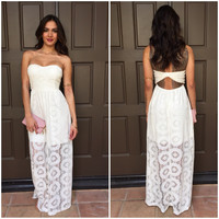 Sun Kissed Lace Strapless Maxi Dress
