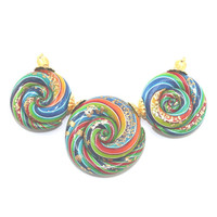 Ombre beads with gold touch, gradient spiral beads in rainbow colors, Polymer Clay colorful beads with stripes for Jewelry Making, set of 3