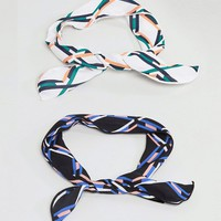 ASOS Pack of 2 Printed Wire Twist Tie Headbands at asos.com