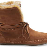 CHESTNUT SUEDE FAUX HAIR WOMEN'S ZAHARA BOOTIES