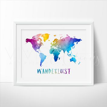 Wanderlust, Travel Quote World Map Watercolor Art Print