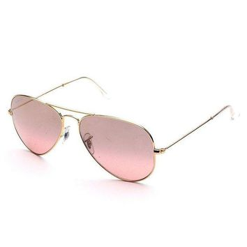 Kalete Ray Ban Aviator RB3025 001/3E Sunglasses Gold Brown Pink Silver Mirror 58mm