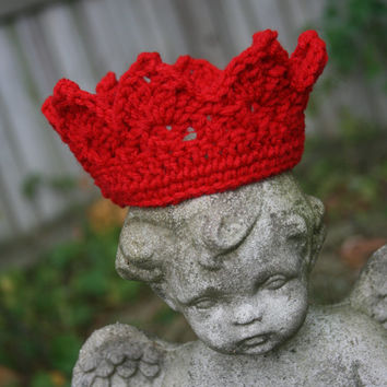 Baby crown crochet Newborn Photo Prop Red