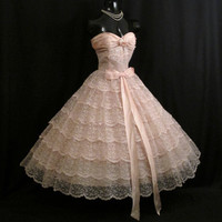 Vintage 1950's 50s Bombshell STRAPLESS Pink Tiered Layered Taffeta Lace Circle Skirt Party Prom Wedding DRESS Gown RARE Medium Large Size