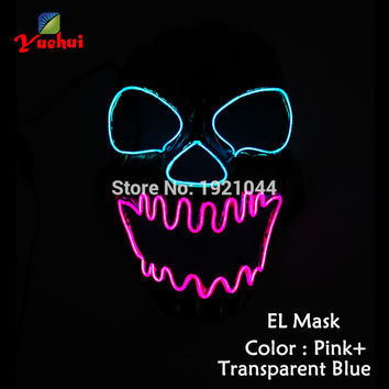 EL wire Mask Sound activated Halloween Light up vampire Mask EL wire Festival LED Glowing Carnival SKULL Shock Party Mask