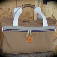 Tan Canvas Bag with Two Outside Pockets, Overnight Bag, Weekend Bag, Gear Bag, Canvas Wader Bag, Utility Bag