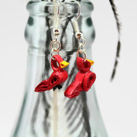 Tiny Red Cardinals Earrings, Paper Quill Earrings, tiny cardinal earrings, cardinals jewelry, tiny bird earrings, red bird quilling earrings