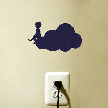 Velvet Fabric Cloud Wall Decal - Boy On A Cloud Sticker - Baby Boy Wall Decor - Nursery Wall Art