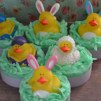 Easter Bunny Rubber Ducky Soap *Detergent Free* Children's Soap for Easter Baskets! Bunny, Lamb, Chick in Egg Rubber Ducks! Peep Scented