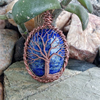 TREE Of LIFE Handmade  Beautiful Lapis Lazuli  Copper Wire Wrapped   Lapis Lazuli Stone Pendant Necklace Copper Patina  Lapis Lazuli Jewelry
