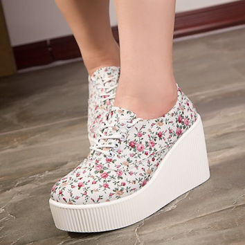 Wedge high heels zapatos mujer Platform Heels ladies Canvas Shoes chaussure femme women schoenen valentine zapatos Casual Shoes