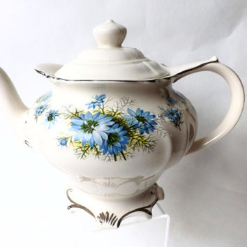Sadler Teapot / Vintage English Teapot / Blue Cornflower Teapot / Afternoon Tea Party / Vintage Ceramic Teapot Staffordshire / Female Gift