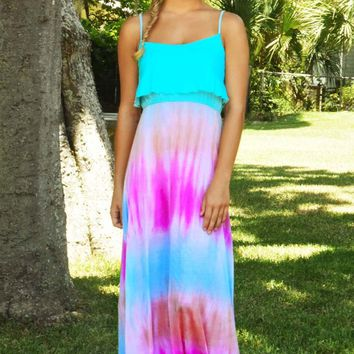 Magic Of Love Maxi Dress: Aqua/Tie Dye
