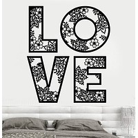 Vinyl Wall Decal Love Romantic Bedroom Design Art Decor Flowers Stickers Unique Gift (919ig)