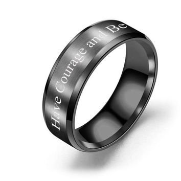 Brushed Polish 8mm Comfort Fit Ring - Have Courage and Be Kind
