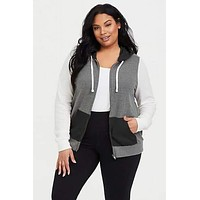 Tammy Colorblock Contrast Zip-Up Hoodie