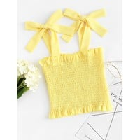 Frill Trim Shirred Crop Top YELLOW
