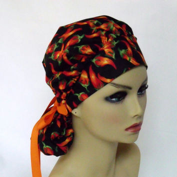 Bouffant Women's Surgical Scrub Hat or Cap Red Hot Chili Pepper