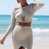 White Long Sleeve Cropped Sweater with Body-con Slit Skirt