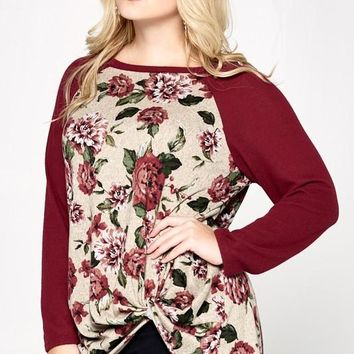 Charlotte Wine Floral Knot Top | Plus