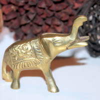Vintage Home Decor / Mini Brass Elephant / Animal Decor
