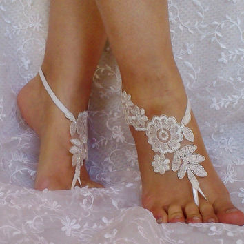 31d3dcf178c49 ivory silver frame beach wedding barefoot sandals bridal lace shoe woman  accessories bridesmaid gift woman shoes