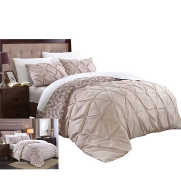 Tirina Talia Pintuck 3 Piece Reversible Duvet Cover Set King & Queen Plum