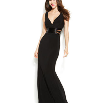 Joanna Chen Beaded Illusion-Panel V-Neck Gown