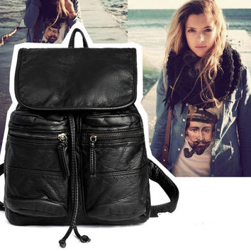 Fashion Casual Black Leather Laptop Backpack School Bookbag Travel Daypack